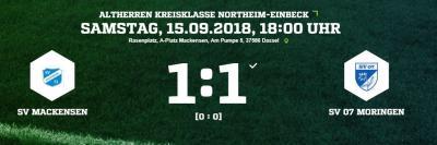 Vorschaubild zur Meldung: Fußball: Altherren holen Punkt gegen Moringen
