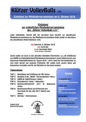 Einladung zur Mitgliederversammlung am 6. Oktober 2018