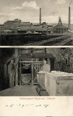 Postkarte (schätzungsweise aus dem Jahr 1910), auf der neben der Fabrik auch der Schachtfüllort unter Tage zu sehen ist.