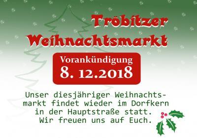 Foto zur Meldung: Vorankündigung Tröbitzer Weihnachtsmarkt 2018