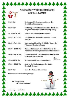 Vorschaubild zur Meldung: Weihnachtsmarkt in Neustadt (Dosse) 07.12.2018
