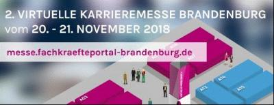 2. Virtuelle Karrieremesse Brandenburg am 20.11. und 21.11.2018