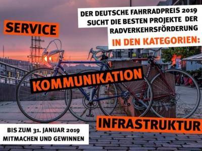 Vorschaubild zur Meldung: Der Deutsche Fahrradpreis 2019- Vorzeige-Projekte der Radverkehrsförderung gesucht!