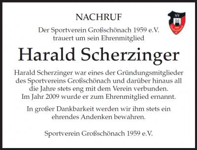 Nachruf Harald Scherzinger