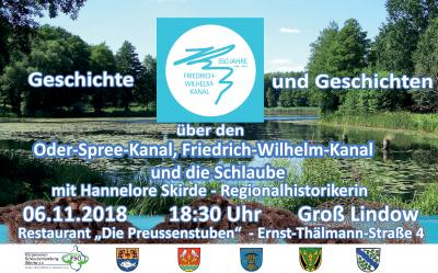 """Foto zur Meldung: Einladung zur letzten Veranstaltung anlässlich des Jubiläums """"350 Jahre Friedrich-Wilhelm-Kanal"""""""