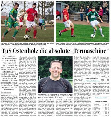 """WZ-Bericht """"Tormaschien TuS Ostenholz"""""""