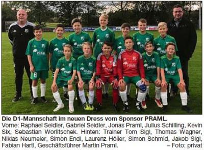 Vorschaubild zur Meldung: Die Jugendmannschaft freut sich über neue Sportbekleidung