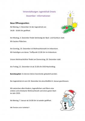 Vorschaubild zur Meldung: Veranstaltungen im Jugendclub Dreetz im Dezember