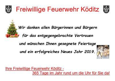Vorschaubild zur Meldung: Weihnachts- und Neujahrswünsche der Freiwilligen Feuerwehr Köditz