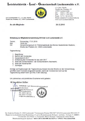 Einladung zur LLG-Mitgliederversammlung