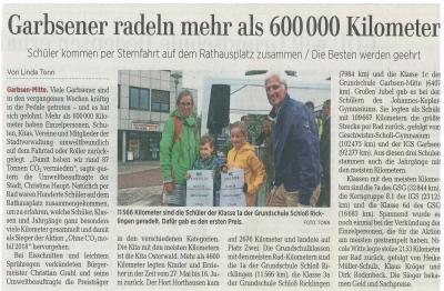 Leine-Zeitung: Garbsener radeln mehr als 600 000 Kilometer