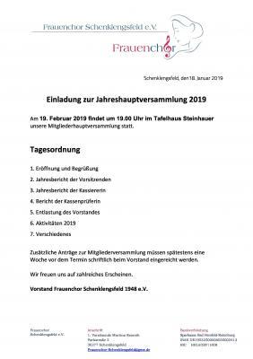 Vorschaubild zur Meldung: Einladung zur Jahreshauptversammlung