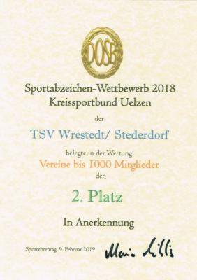 Urkunde vom Sportabzeichen-Wettbewerb