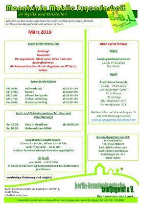 Vorschaubild zur Meldung: März-Programm der Jugendclubs
