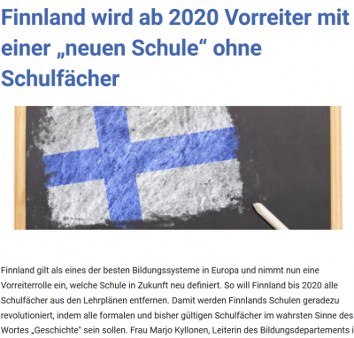 Foto zur Meldung: Neues Schulmodell in Finnland ab 2020
