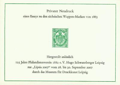 Privater Neudruck der Sachsen Nr.2 zur LIPSIA 2007