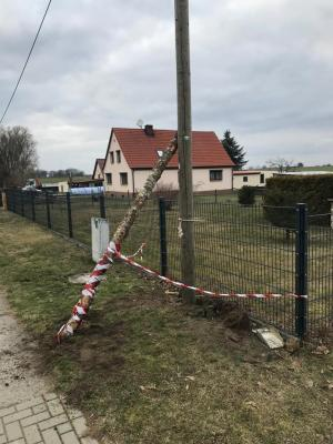 Foto zur Meldung: Telefonmast Umgestürzt