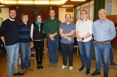 Von links: Patrick Grünewald, Thomas Ronge, Karina Berges, Daniel Selbach, David Schröck, Theresa Halbe, Jörg Köster