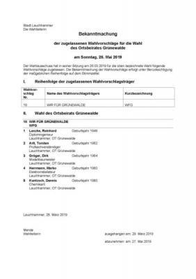 Foto zur Meldung: Bekanntmachung der zugelassenen Wahlvorschläge für die Wahl des Ortsbeirates Grünewalde am Sonntag, 26. Mai 2019