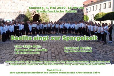 Konzert der Kantorei Beelitz & Chor des Gymnasium Beelitz: o4. Mai um 16 Uhr