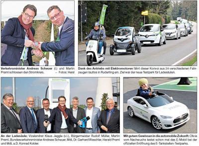 Vorschaubild zur Meldung: Minister eröffnet Testpark für E-Tankstellen