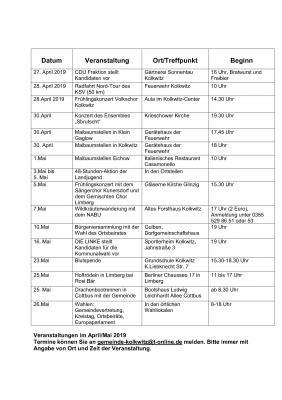 Vorschaubild zur Meldung: Veranstaltungen im April/Mai 2019 im Überblick