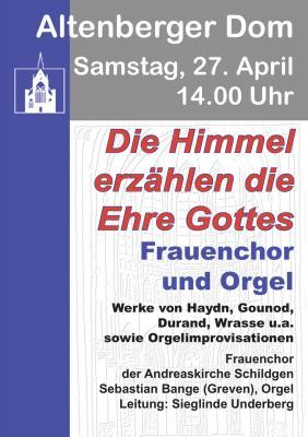 """Foto zur Meldung: """"Die Himmel erzählen die Ehre Gottes"""""""" – Frauenchor-Musik und Orgel-Improvisationen im Altenberger Dom"""