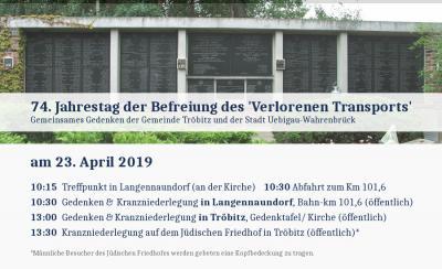 Vorschaubild zur Meldung: 74. Jahrestag - Gedenken an die Befreiung des Verlorenen Transports