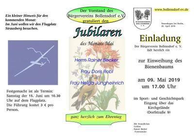 Vorschaubild zur Meldung: Einweihung des Bienbaumes im Sport- & Geschichtspark Bollensdorf