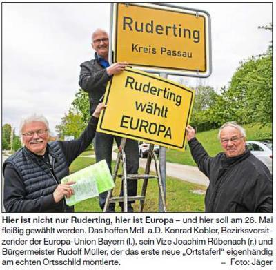 Vorschaubild zur Meldung: Werbung für die Europawahl: Ruderting wechselt Ortstaferl