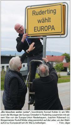 Vorschaubild zur Meldung: Landratsamt greift ein: Europa-Taferl müssen weg