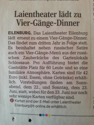 """Vorschaubild zur Meldung: 4-Gänge-Theater-Dinner """"Vorsicht! Bissig!"""" - AUSVERKAUFT!!!"""