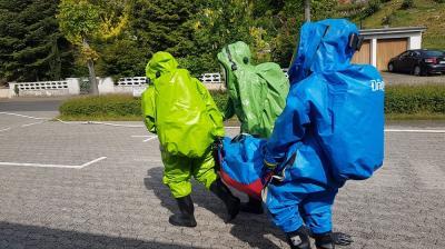 Foto zur Meldung: Übung Chlorgasaustritt des LB-West