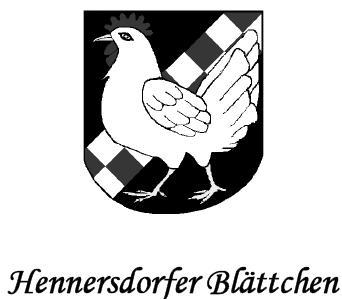 Vorschaubild zur Meldung: Hennersdorfer Blättchen Mai 2019