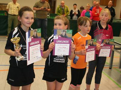 Die Sieger der Altersklasse 2008/2009 Mädchen mit den drei Schwarzaer Medaillengewinnerinnen v.l.: Lilly Reining, Lara König, Jasmin Lehmann und Shirley Weise aus Tannroda