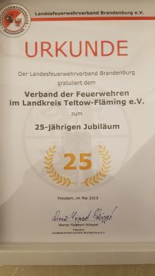 Vorschaubild zur Meldung: 25 Jahre Verband der Feuerwehren im Landkreis Teltow - Fläming e.V.