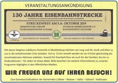 Vorschaubild zur Meldung: 130 Jahre Bahnstrecke Ludwigslust-Holthusen