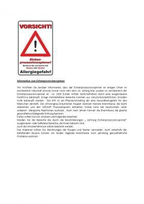 Vorschaubild zur Meldung: Information zum Eichenprozessionsspinner