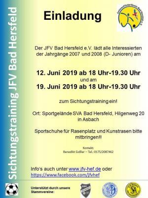 Vorschaubild zur Meldung: Sichtungstraining D Jugend JFV Bad Hersfeld