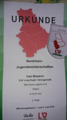 Vorschaubild zur Meldung: 01./02.06.2019: Nordrhein-Jugendmeisterschaften, Mönchengladbach