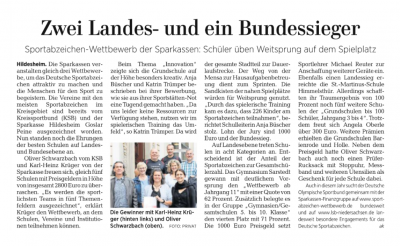 Vorschaubild zur Meldung: Grundschule auf der Höhe wurde mit dem Bundespreis für Innovation bei der Durchführung des Deutschen Sportabzeichens ausgezeichnet