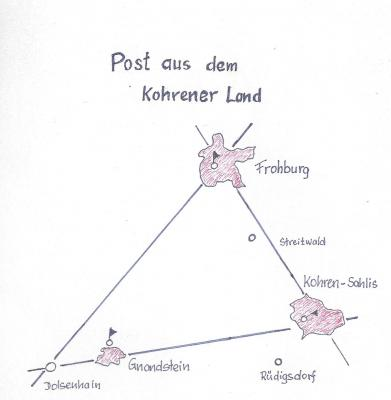 Post aus dem Kohrener Land - Kartenskizze