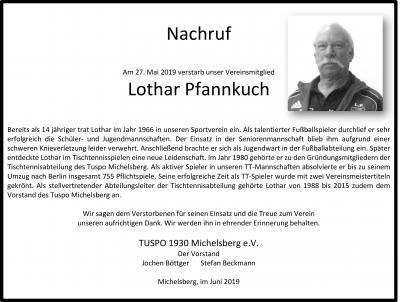 Nachruf Lothar Pfannkuch