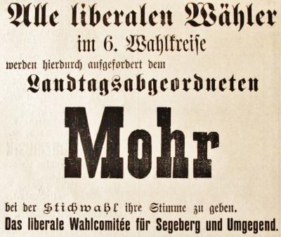 Stichwahl, Mohr-Empfehlung der Liberalen, SKWB 23.06.1894