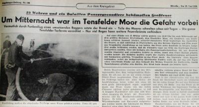 Brand im Tensfelder Moor, Segeberger Zeitung 23.06.1959