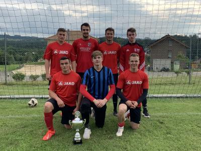Vordere Reihe von links: Johannes Schmoll, Nino Trost, Nico Trost, hintere Reihe von links: Thomas Schmoll, Vincent Kelly, Fabian Will, Jonas Atzenhofer