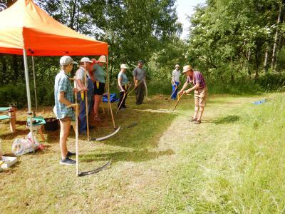 Vorschaubild zur Meldung: Sensenmähkurs im Teichgebiet mit begeisterten Teilnehmern
