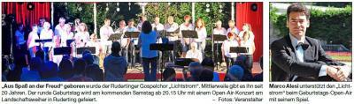 """Vorschaubild zur Meldung: Gospelchor """"Lichtstrom"""" feiert 20. Geburtstag"""