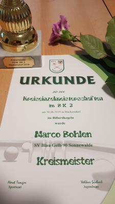 Foto zur Meldung: Billard: Marco Bohlen wird Kreismeister im BK2