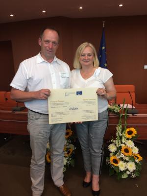 Foto zu Meldung: Malchin erhielt in Strasbourg am 27.06.2019 das Europadiplom